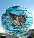 Mermaid and fish glass sculpture